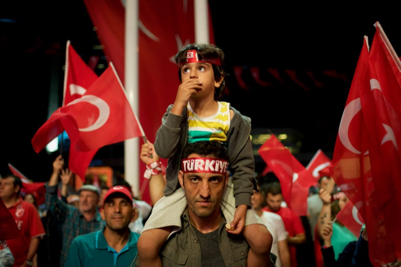 Demonstrator and his Son, Istanbul, Turkey